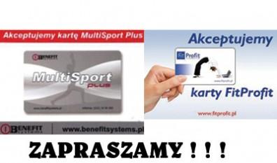 Akceptujemy Karty  MultiSport i FitProfit